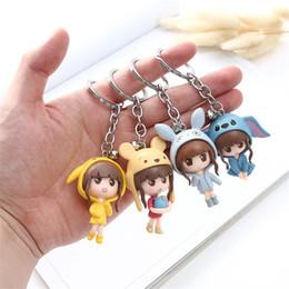 belos brinquedos para bebês Desconto Menina bonita figuras tampão do urso pikachu Chaveiros bolsa pingente figuras bebê crianças de ação brinquedos 4 pcs / set