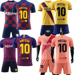Establecer camisetas de fútbol online-Messi 10 Amarillo Pequeñas embroma los jerseys de manga corta para hombre adulto Camiseta de los pantalones camiseta de fútbol kit conjunto uniforme de la tapa del envío gratis de Jersey