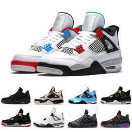 Alas de mujer zapatos deportivos online-Alas de alta calidad 4 de limo rojo 4S Lo que el cemento blanco zapatos de baloncesto de los hombres de las mujeres del gato Negro criado fresco gris para hombre zapatillas de deporte de los deportes