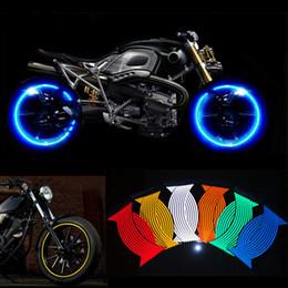 Decalques de honda adesivos on-line-16 Pcs Strips Etiqueta Da Roda Da Motocicleta Decalques Reflexivos Jante Rim Tape Car Styling Para YAMAHA HONDA SUZUKI Harley BMW