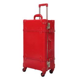 Девушки чемодан багажа онлайн-Красный багаж крокодиловая кожа чемодан девушки путешествия камера прокатки счетчик пароль замок высокое качество бесплатная доставка