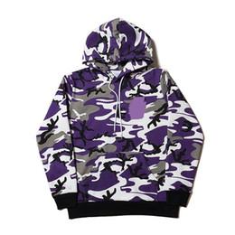 Wholesale Camuflagem Padrão Hoodies Moda Homem Mulheres Casal Hoodies Camuflagem Longo Sleeved Roxo Camisolas HFLSWY264