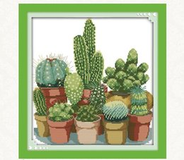 lienzo abstracto de navidad pinturas Rebajas 2019 Nuevos Cactus Patrones de punto de Cruz Contado 11CT Impreso 14CT Punto de Cruz Kits de punto de Cruz Chino Bordado Costura