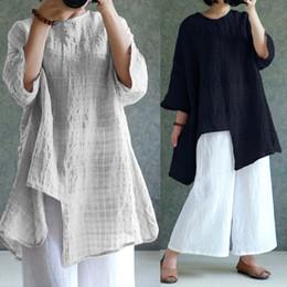 4xl S 5xl Frauen Bluse Baumwolle Leinen Top 2019 Sommer Langarm Plaid Vintage Split Baggy Blusa Femininas Oversized Shirt von Fabrikanten