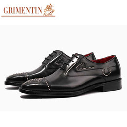 Мужская обувь онлайн-  rivets mens wedding shoes genuine leather customized handmade black men dress shoes