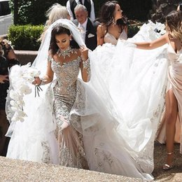 2019 Luxe Sexy Robes De Mariée Sirène Exquis Perles Cristaux Manches Longues Volants Tribunal Train De Mariage Robes De Mariée Sur Mesure DM039 ? partir de fabricateur