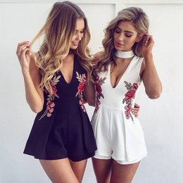 5cff2504e884 Women Jumpsuits Rompers Rose Embroidery Floral White Black Fashion Casual V  Neck Sexy Party Club Summer Shorts S-2XL
