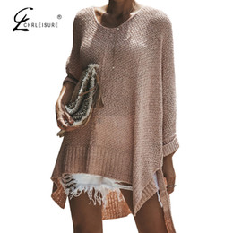 Розовый свитер онлайн-CHRLEISURE Jumper Sweater Women Pink Korean Style Women Pull Plus Size Sweater Knitted Long Loose
