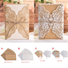 free engagement invitation cards Promo Codes - 10pcs lot Flower Hollow Laser Cut Wedding Invitations Elegant Engagement Wedding Invitation Card With Rope Free Envelope Seals