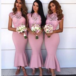 761ddf6f16 2019 vestidos Bata de demoiselles d honneur Sirena rosada Cuello alto  Vestidos de dama de