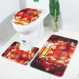 Phenomenal 30Lots X Mas Bath Mats Christmas Toilet Mat 3Pcs Set Bathroom Carpet Toilet Lid Cover Toilet Seat Cover Rugs Non Slipdh0228 Machost Co Dining Chair Design Ideas Machostcouk