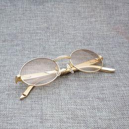 Goldene schutzbrille online-Edelstahl runden Sonnenbrillen Herren Jahrgang Golden Sun-Glas-Farbton Clear Brille Gold Frame Gafas Oculos Goggles