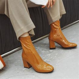 2019 обувь на день PXELENA повелительниц Ботильоны офиса партии Дата платье Коренастый Блочные Высокие каблуки лаковые туфли Осень Плюс Размер 34-43 дешево обувь на день