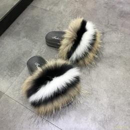 semelles roses chaudes Promotion Vente chaude Real Fox Fur Slipper Femmes Coulisses Sliders Mode Printemps Été Automne Fluffy Fur Lady Semelle PVC