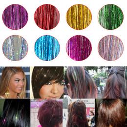 Accessori di capelli falsi online-Bling Hair Tinsel Sparkle per l'estensione dei capelli sintetici Glitter arcobaleno Falsi fili Accessori per feste Acconciatura