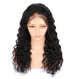 Полный цвет парики шнурка онлайн-AiS парики человеческих волос для чернокожих женщин полный парик шнурка 13 * 4 передний парик шнурка волна воды натуральный 1B цвет бразильский парик волос реми с волосами младенца