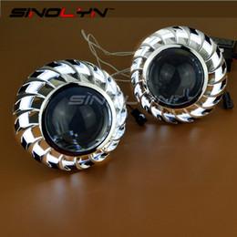 Canada SINOLYN 2.5 pouces Spirale Firewheel Ange Yeux Halo Caché Objectif xénon Projecteur Phare De Voiture De Style LHD RHD H1 H4 H7 cheap projector lenses for headlight Offre
