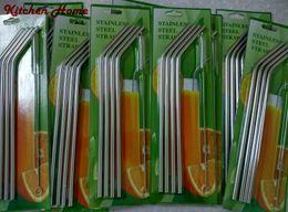set di tazze d'acciaio Sconti Hot New Straws Bar in acciaio inox Curve Cannucce Curve 4 + 1 dritto potabile Cannuccia e set di spazzole per tazze