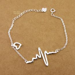 Bracelet de cheville coeur en argent sterling en Ligne-Bijoux fantaisie en argent sterling 925 avec un joli bracelet en forme de cœur (16 + 3 cm), chaîne de cheville (21 + 3 cm) A2294