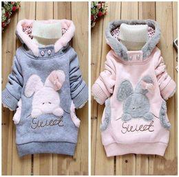 Chaqueta de conejo niña online-Nuevo bebé conejo abrigo Sudaderas para niños niñas ropa linda sudaderas con capucha capa de la chaqueta de invierno 2-6Y
