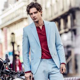 a216edda32a Sky Blue Men Suits Slim Fit Smart Casual Custom Party Prom Suit Dinner Suit  Wedding suit Tailor Groom Tuxedo Wedding Blazer jacket+pants