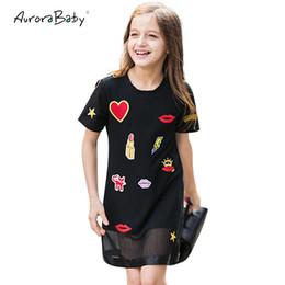 12-jährige kinderkleidung online-Kinderkleider für Mädchen Sommerkleider für kleine Mädchen Schwarze Applikationen Kleidung für Mädchen 6 7 8 9 10 11 12 13 14 Jahre alte Kleidung Y190516