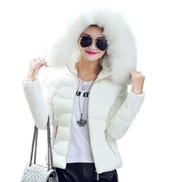 2019 giacca di bomber delle donne nere Donne di alta qualità inverno Big con cappuccio in pelliccia del cappotto del collare femminile della tuta sportiva Donne Warm breve rivestimento di base Slim Jaqueta Femminile migliore S-3XL