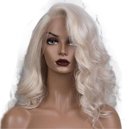 cabelo loiro de platina cabelo humano Desconto Transparente Lace Platinum Blonde ondulado Cabelo Humano Perucas 13x6 rendas frente Wigs onda do corpo loira peruca completa por Mulheres Cabelo Humano