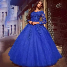 Abito cinerario quinceanera reale online-Cinderella Lace Quinceanera Dresses Royal Blue V neck Sweet 16 Dress Prom Ball Gowns Floral Appliqued Long Sleeves Party Prom Gowns