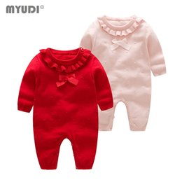 Gravata de seda do bebê on-line-Quente Bow-tie Myudi -Newborn Baby Girl Sweater doce de malha de algodão Lotus Crianças Roupas um pedaço Romper Criança Wear
