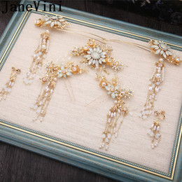 Joyería del pelo de la novia china online-Estilo JaneVini china antigua novia palillos del pelo joyería de las mujeres pendientes de las perlas de oro Conjunto de la vendimia cristalina de la boda peines prendedores