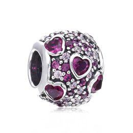 Joyas de cuentas rojas online-Nuevo Fits Original Beads Bracelet Auténtica Plata de Ley 925 Pave Clear / Red Crystal Explosion of Love Charms Beads para DIY Jewelry Making