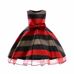 kinder prom kleider stück Rabatt 1 stücke Baby Mädchen Großen Bowknot Prinzessin Kleid Mode 2019 Kinder Einteiliges Streifen Voll Prom Party Kleider Dancewear Kinder boutique kleidung