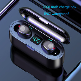 Fone de ouvido universal para fone de ouvido on-line-Wireless Display fone de ouvido Bluetooth V5.0 F9 TWS sem fio Bluetooth LED Headphone Com Auriculares 2000mAh Power Bank Com Microfone