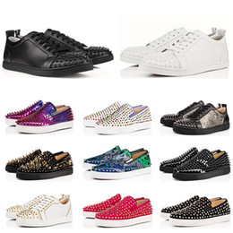 männer rote böden verkauf Rabatt Designer Luxury Red Bottoms Studded Spikes Flats Schuhe für Männer Frauen schwarz weiß blau Party-Liebhaber Echtes Leder casual Sneakers zum Verkauf