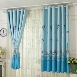 Nagelneue Nette Fenster Ballon Printed Vorhang Wohnzimmer Bildschirm Jungen Sheer Kinder Blaue Vorhange Kinder Schlafzimmer Kinderzimmer Bs