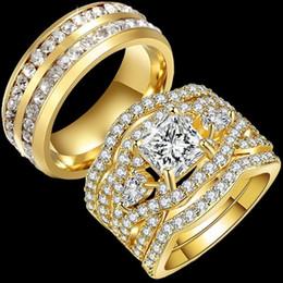 Casal banda anéis de ouro conjunto on-line-His e dela 14k banhado a ouro homens Cubic Zircon Band Mulheres Princesa Eternity White Sapphire Wedding Couple Anel Set