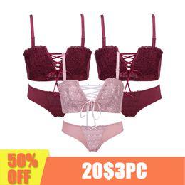 f35fa2c582 3 Piece Sexy women Underwear Japanese super Sexy push up bra red and pink  Princess straps belt lace women bra set Lingerie