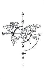 Impermeabile tatuaggio temporaneo adesivi finti mappa geometrica bussola Design Fresco Body Art Make Up Tools da