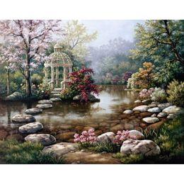case del mediterraneo dipinti ad olio Sconti Quadri moderni dipinti ad olio giardino paesaggi Gazebo mediterraneo dipinto a mano su tela per la casa