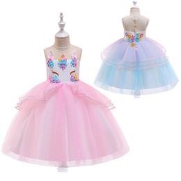2019 vestido de malla bordada Vestido de princesa unicornio para niñas 20 Diseño para niños Vestido de fiesta bordado con cuentas para niñas Ropa de diseño para niños Vestido con cremallera TUTU de malla con pajarita 06 vestido de malla bordada baratos