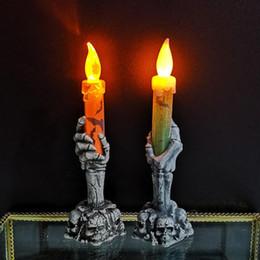 kerzenlicht dekoration nacht Rabatt Halloween-Geist-Hand-Nachtlicht von Ghost Festival Atmosphäre Props Kunststoff-Neon-LED-Kerze-Licht Halloween-Dekoration