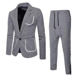 Homens de traje de negócios on-line-Adisputent Homens Jaqueta de Negócios Calças Conjunto Slim Fit Clássico Masculino Moda Blazers Xadrez Ternos Traje de Luxo 2 Peças (jaqueta + calças)