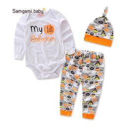 Bebek Bebek Karikatür Suit Yürüyor Boy Kız Cadılar Bayramı Tema Giyim Çocuk Tasarımcı Giyim Kız Mektup Romper Baskılı Pantolon Şapka Suit 06 cheap 4t girls romper nereden 4t kız romper tedarikçiler
