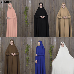 islamic dresses hijab Promo Codes - Ramadan Abaya Dubai Muslim Dress Prayer Clothing Black Kaftan With Hijab Robes Arabian Women Islamic ClothingTurkey Islam Elbise