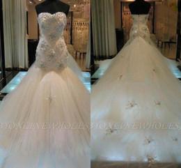 2019 vestido de noiva de sereia de lantejoulas de strass Luxo strass lantejoulas sereia vestidos de noiva sem encosto contas apliques varrer trem tule vestido de noiva robe de marie bc0878 vestido de noiva de sereia de lantejoulas de strass barato