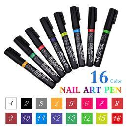 2019 desenhos de caneta de gel 3D 16 cores Nail Polish Pen Manicure Ponto de Padrão Desenho Colorido Flor DIY