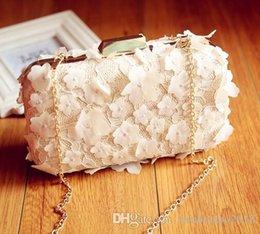 koreanische spitzenhandtaschen Rabatt Factory Sales Branded Bag Korean Dinner Bag Handgemachte Blume Frau dreidimensionale Blume Kette Tasche kleine frische Spitze Blume Frau Handtasche