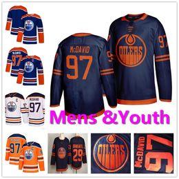 Camisa azul alaranjada do hóquei on-line-Juventude Mens Lady 97 Connor Mcdavid 29 leon draisaitl Marinho Branco Laranja Azul Casa Fora costurado Crianças Edmonton Oilers Hóquei no Gelo Jerseys