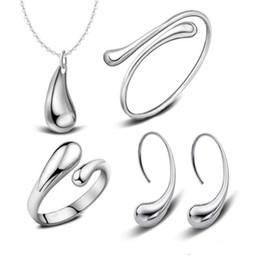 2019 имитация прозрачный браслет 925 посеребренные капли воды браслеты ожерелье кольца серьги наборы свадебные комплекты ювелирных изделий для женщин DHL